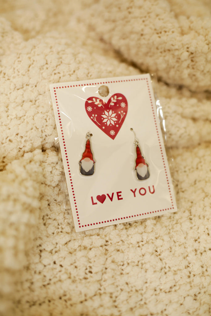 Christmas Card Gnome Earrings