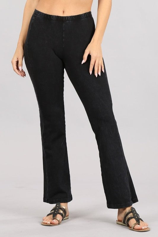 Jackie Black Mineral Wash Flare Stretch Pants With Elastic Waistband