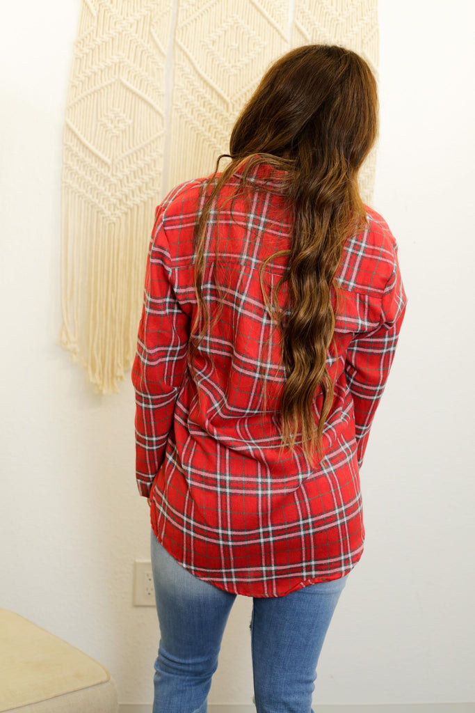 Boston Red Checkered Flannel Long Sleeve Shirt