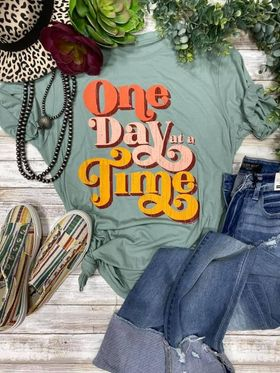 Vintage Stonewash Green One Day At A Time T-Shirt