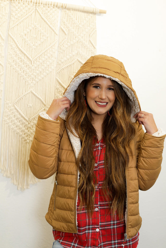 Rosa Camel Sherpa Fleece Lined Puffer Jacket With Hood