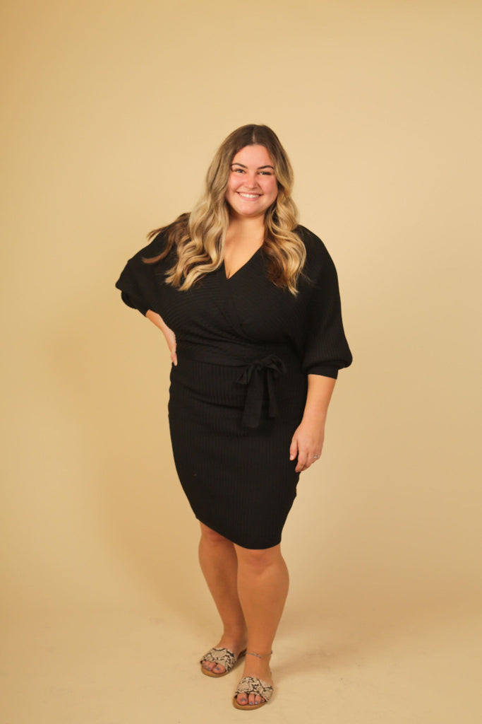 CURVY GIRL- Amsterdam Black Ribbed Long Sleeve Sweater Dress With Waist Tie