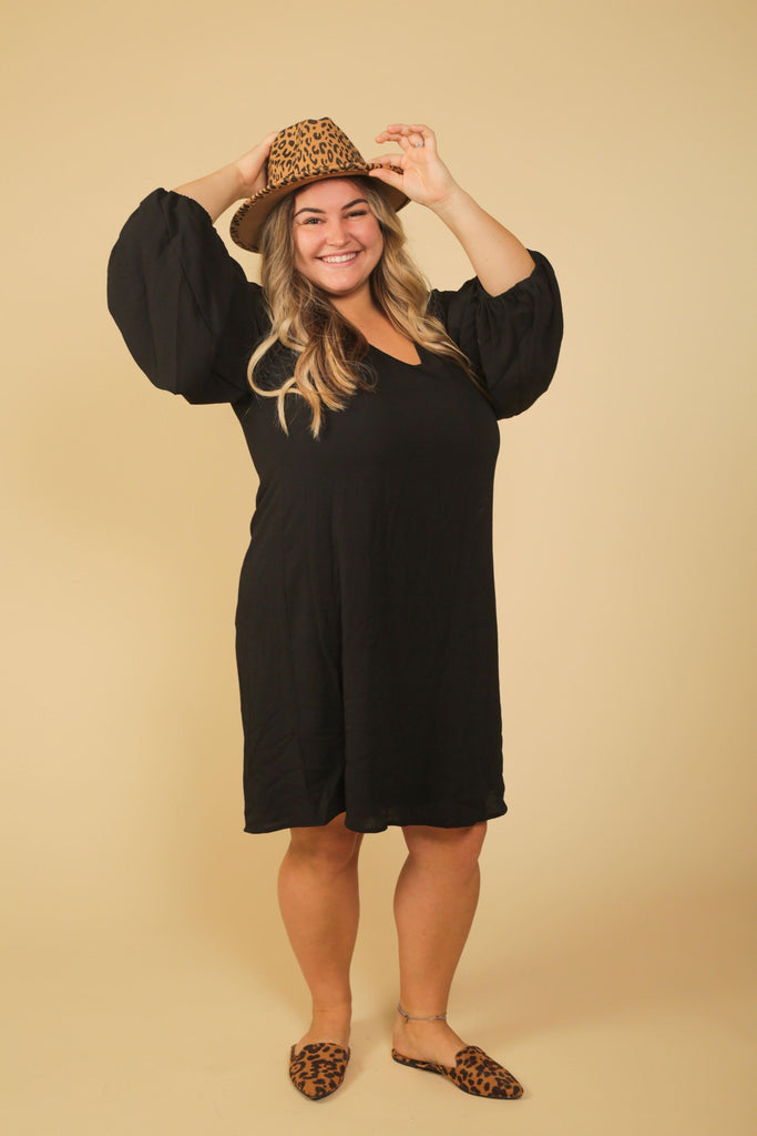 CURVY GIRL-Melony Black Balloon Sleeve Mini Dress