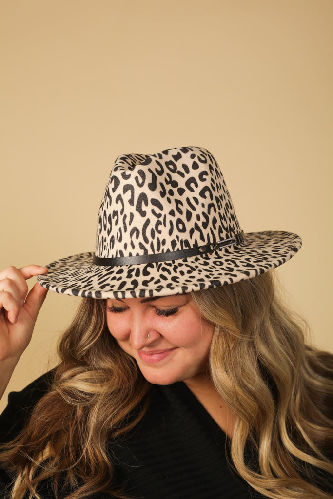 Boujie Bee Leopard Print Wool Hats With Leather Band & Buckle