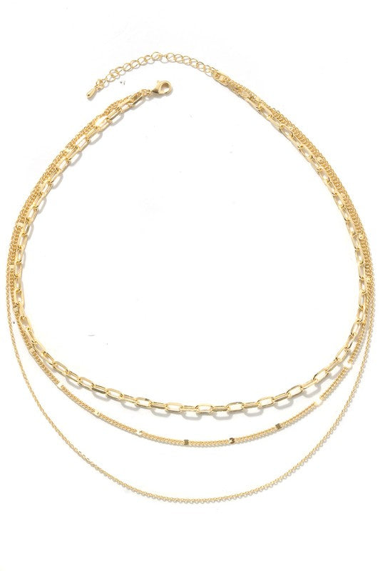Layered Metallic Chain Link Belt Necklace