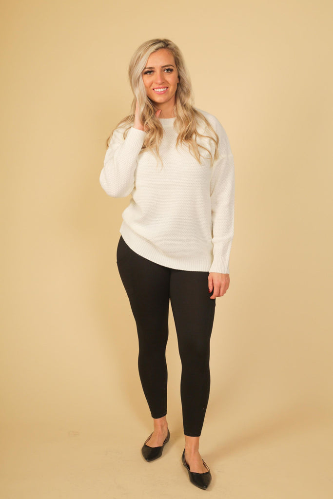 Round Neck Basic Sweater | Ivory, Navy, or Ruby Red | Petite or Curvy