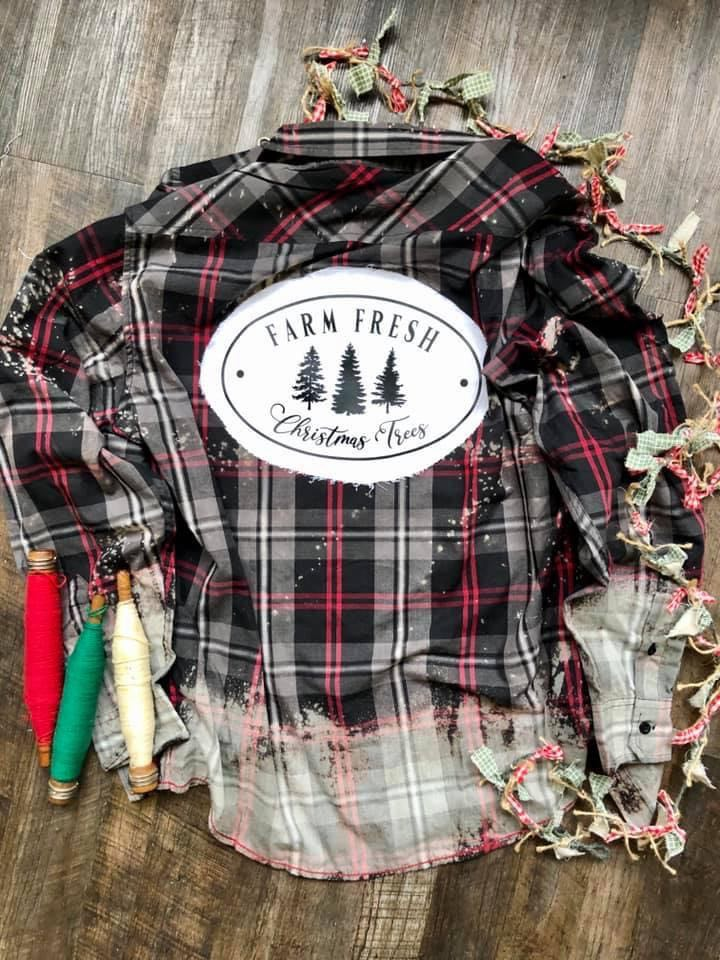 Christmas Plaid Button Down With Christmas Tree Applique