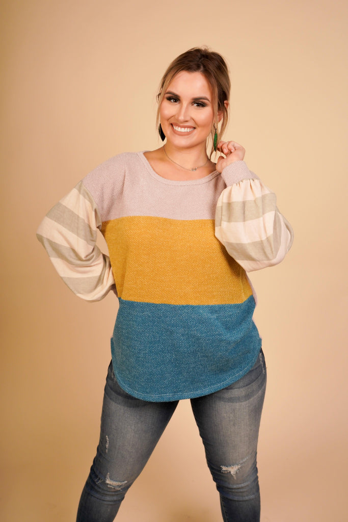 Peyton Mustard And Teal Color Block Knit Sweater With Striped Puff Sleeves
