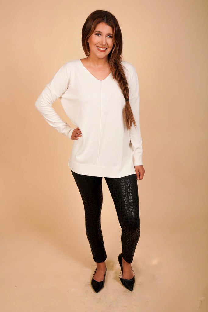 Wren High-Low Soft Tunic Ivory Sweater