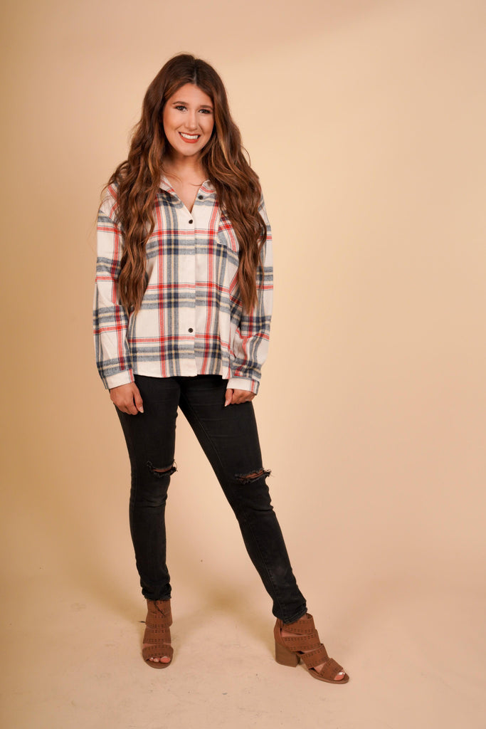 Shayna Navy Collared Flannel With Front Pockets