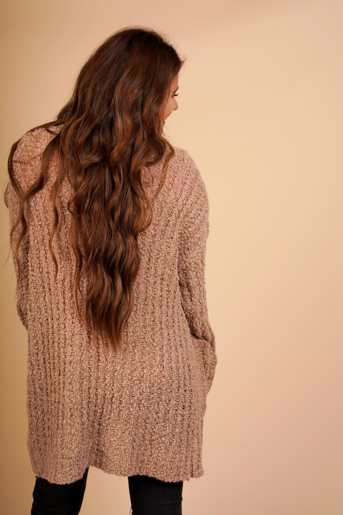 Emery Taupe Light Popcorn Knit Cardigan With Pockets
