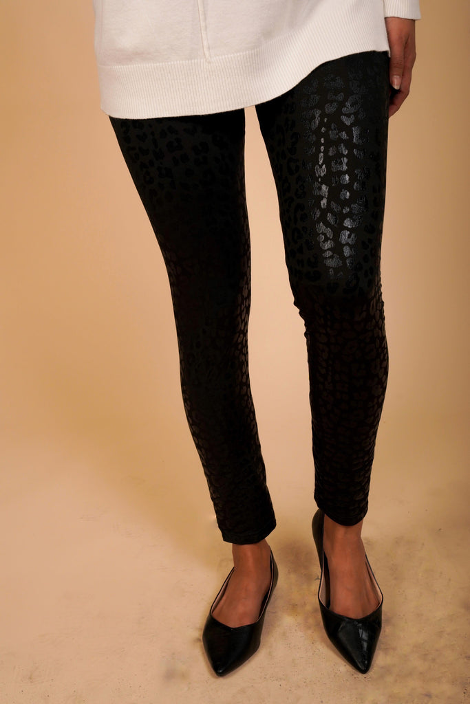 Leah Black Leopard Print Leggings