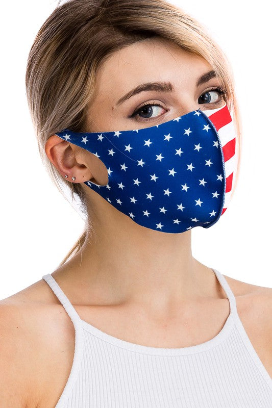 New American or Texas Flag Face Masks