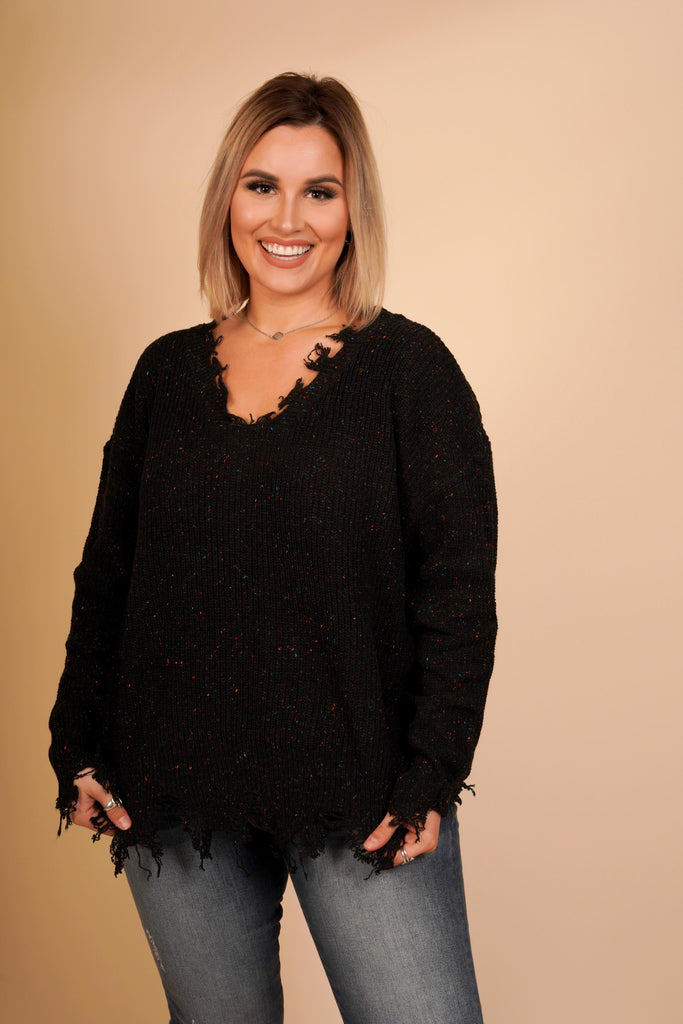 Parker Distressed Black V-Neck Knit Sweater With Multicolored Speckle Detail