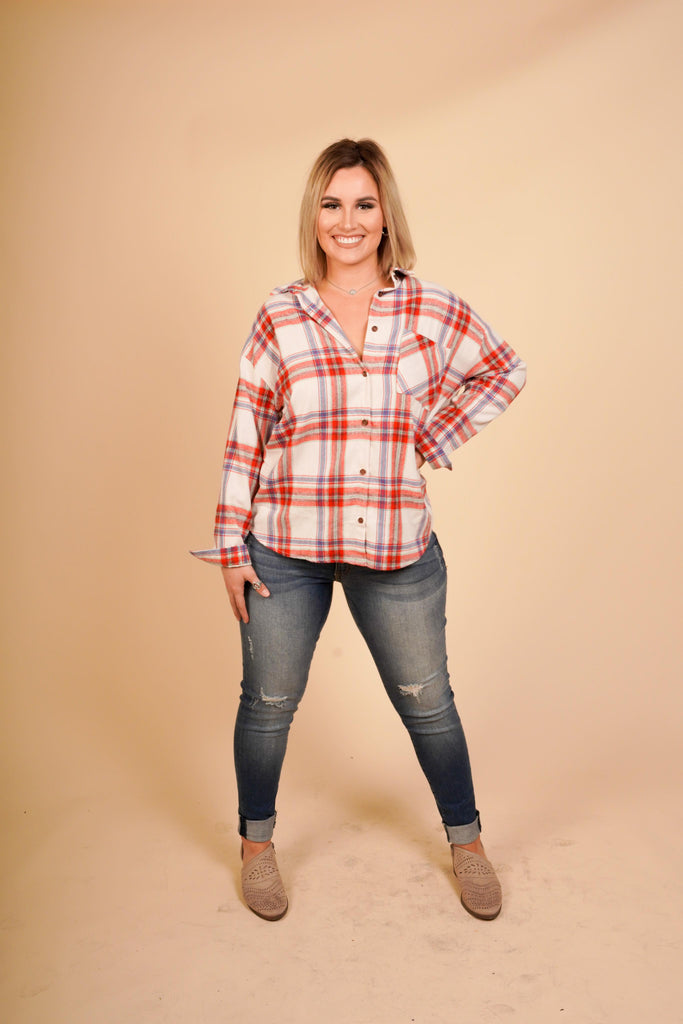 Shayna Red Collared Flannel With Front Pockets