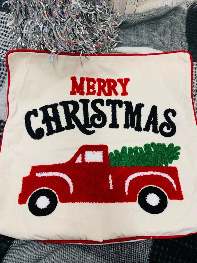 """Merry Christmas"" Pillow Cover With Truck Carrying Christmas Tree"