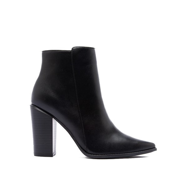 Black Leather High Ankle Booties With Side Zipper