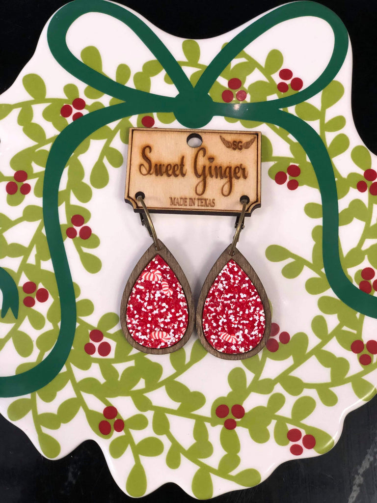 Peppermint Glitter Unique Wooden Teardrop Earrings