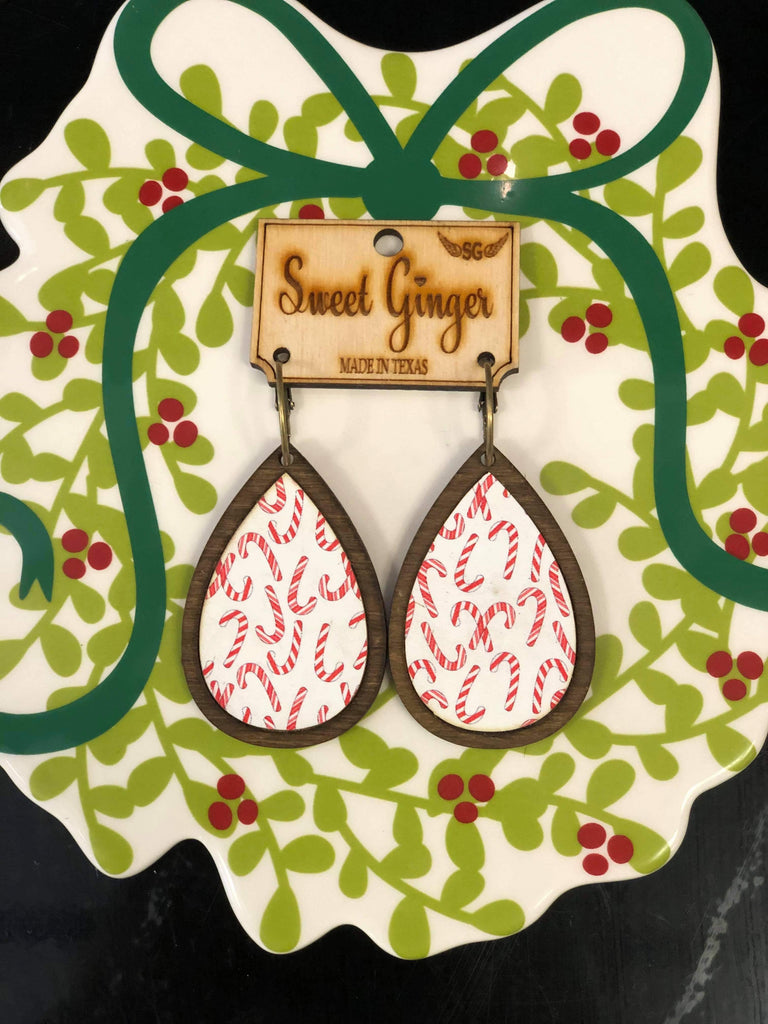 Peppermint Stick Unique Wooden Teardrop Earrings