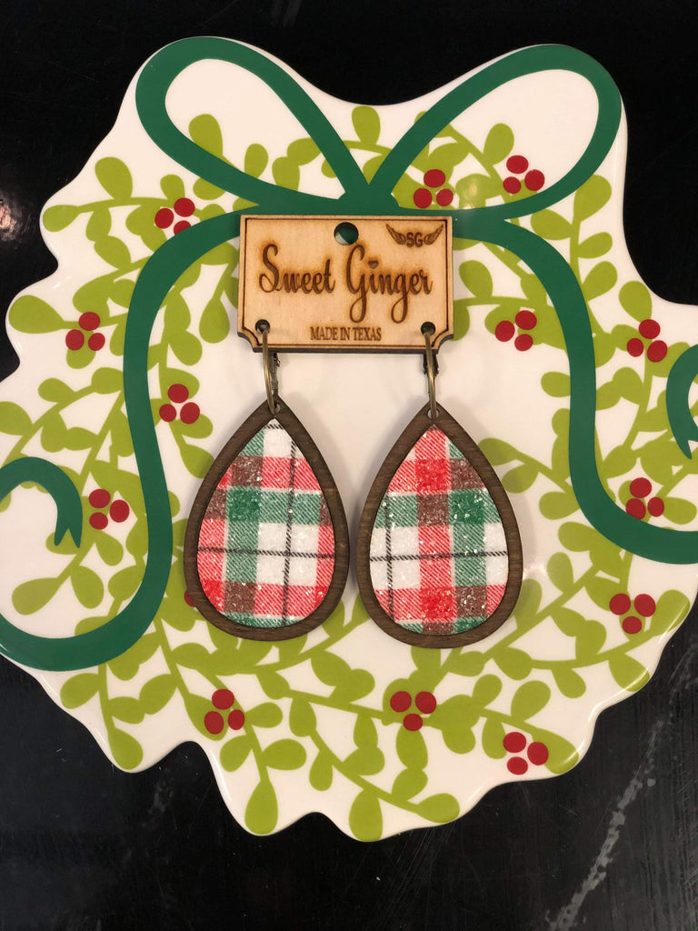 Unique Wooden Plaid Teardrop Earrings