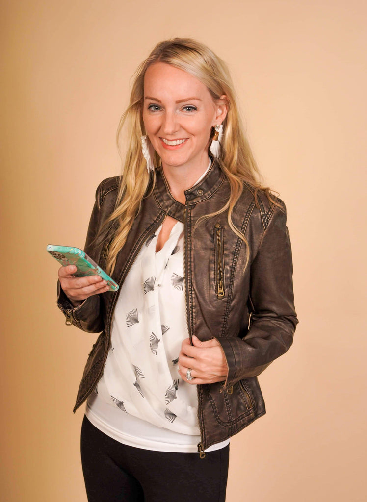 Ainsley Washed Brown Fitted Biker Jacket With Multiple Zip Features And Button Clasp Collar