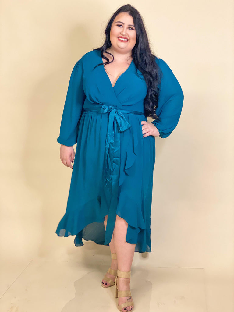 CURVY GIRL - Louise Teal Chiffon Surplice High Low Dress With Front Tie And Long Flowy Sleeves