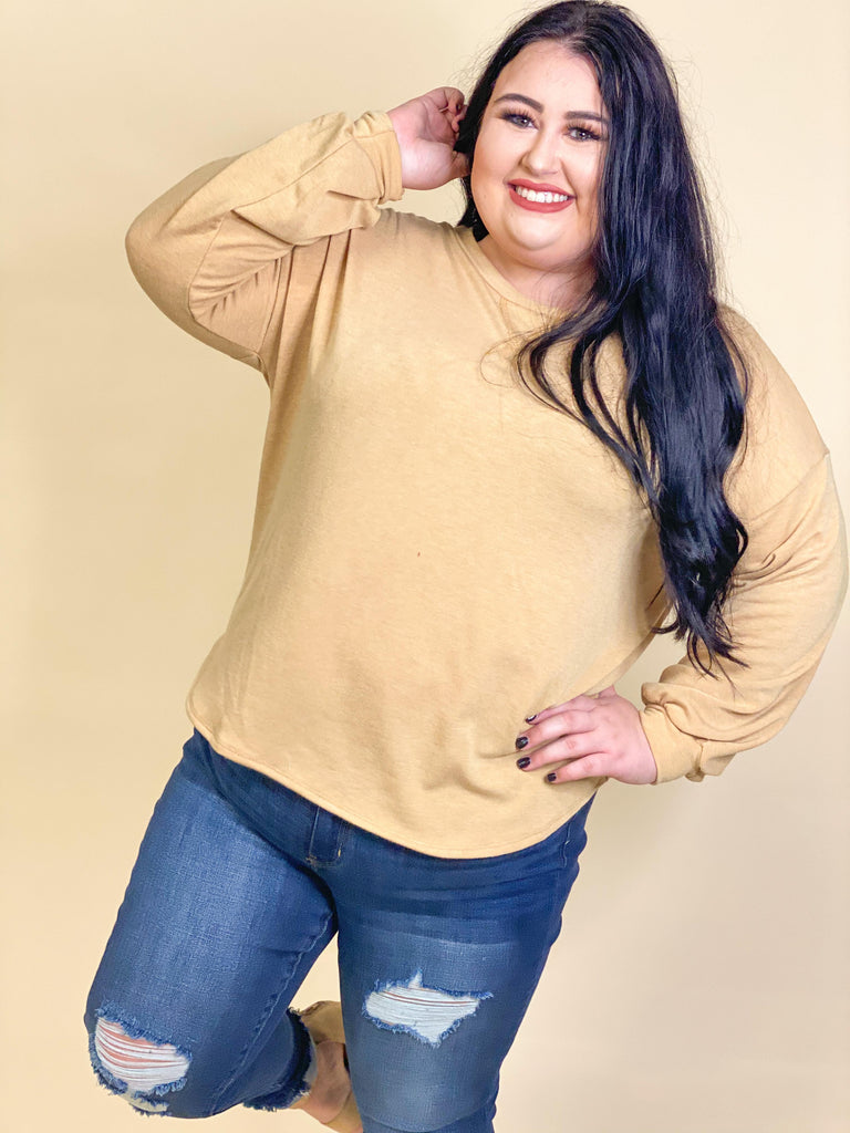 CURVY GIRL - Marley French Terry Mustard Sweatshirt With Dropped Shoulder And Balloon Sleeves