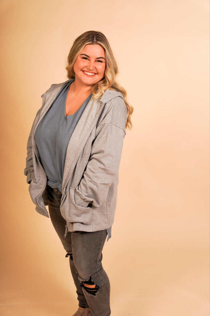 CURVY GIRL - Krista Heather Grey Fleece Lined Hooded Jacket With Double Button Clasp And Full Zipper