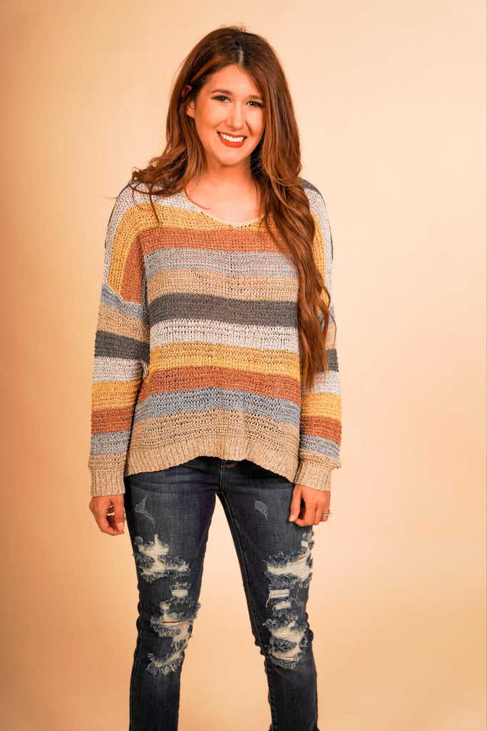 Ava Fall And Mustard Colored Multi Striped Pullover