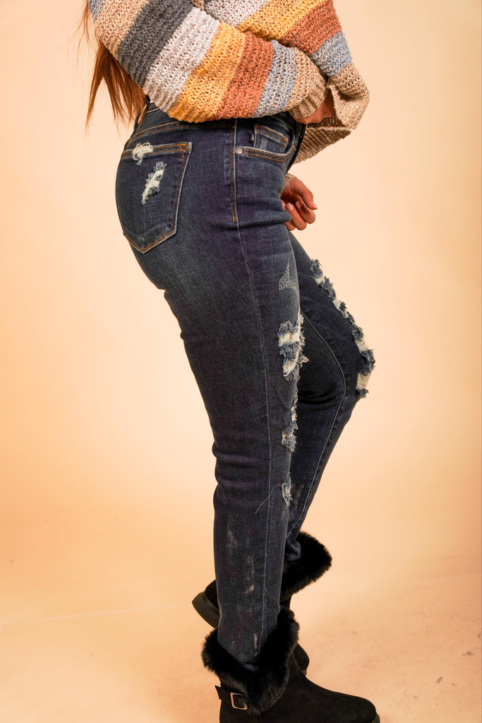 Piper Dark Wash Judy Blue Jeans With Destroyed Detail On Front And Hemline