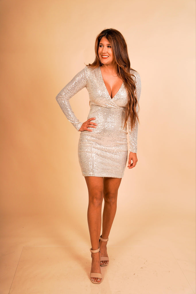 Pop The Champagne Long Sleeve Sequin V-Neck Dress