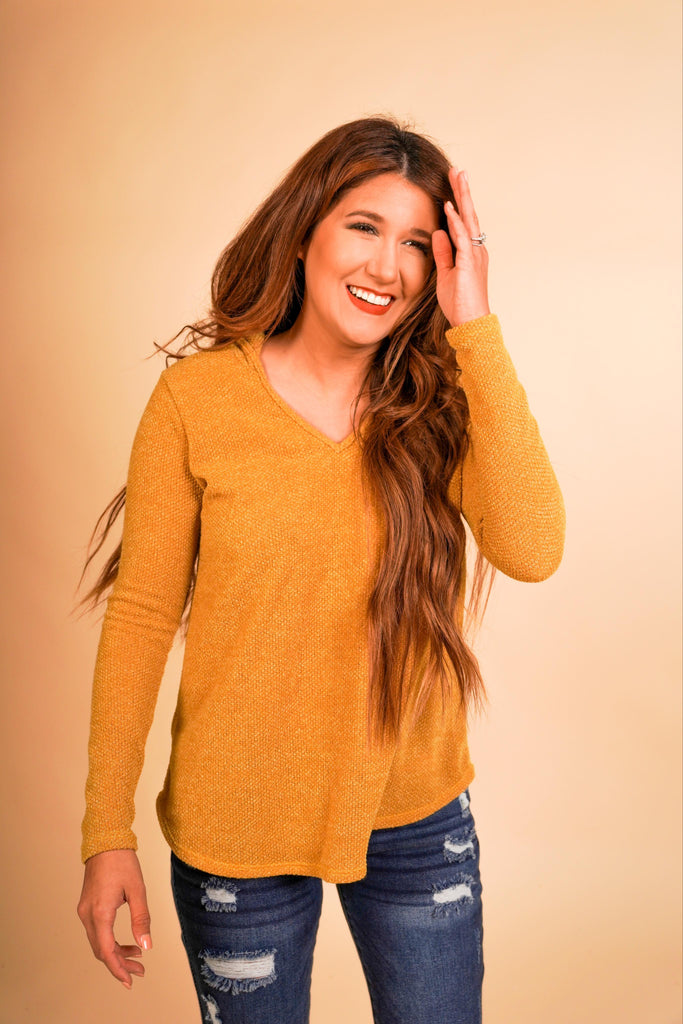 Emily Hooded Mustard Long Sleeve Hacci Top