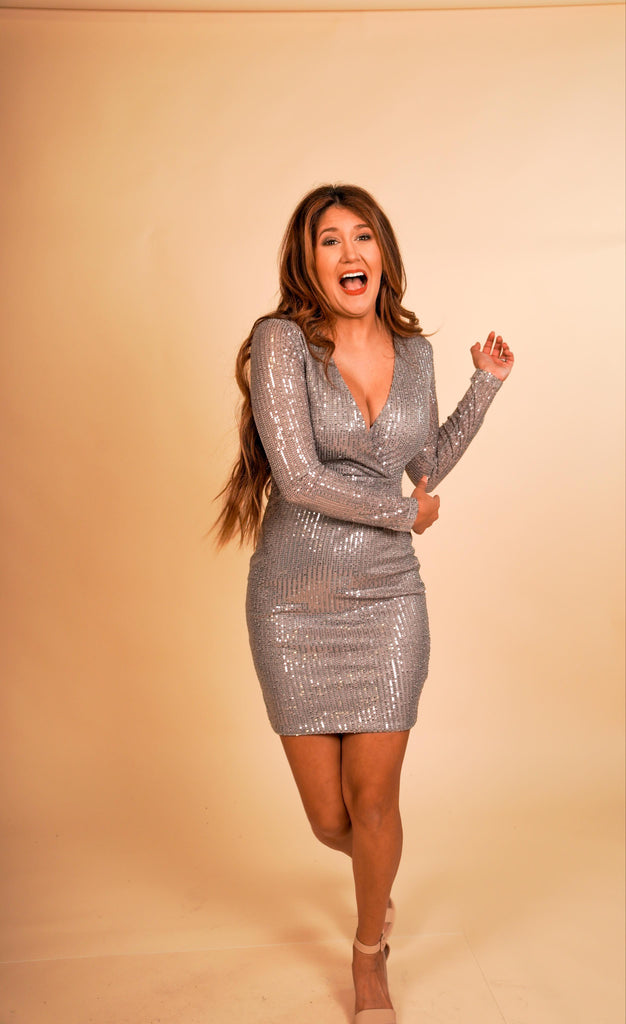 Pop The Champagne Silver Long Sleeve Sequin V-Neck Dress