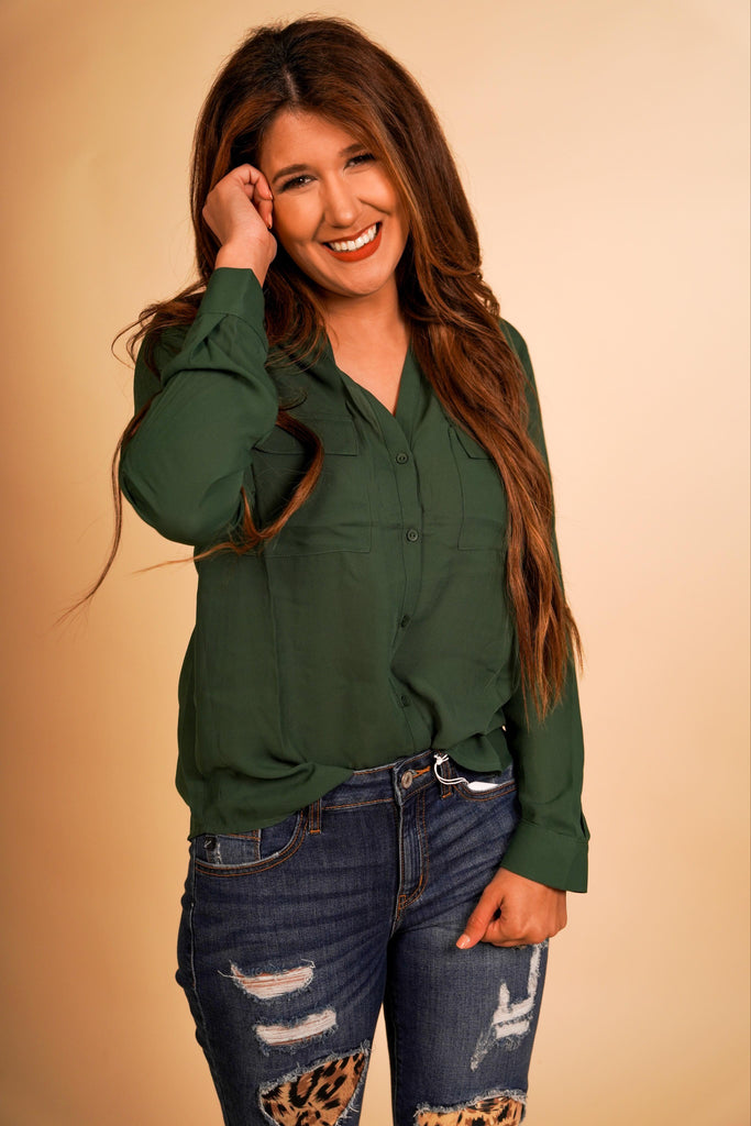 Erin Deep Green Long Sleeve Button Down With Pocket Features