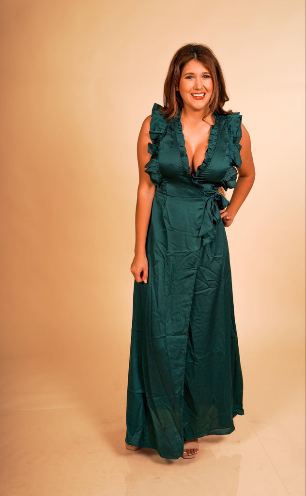 Wrap Me Up As Your Christmas Gift Green Ruffled Satin Dress Wrap With Tie