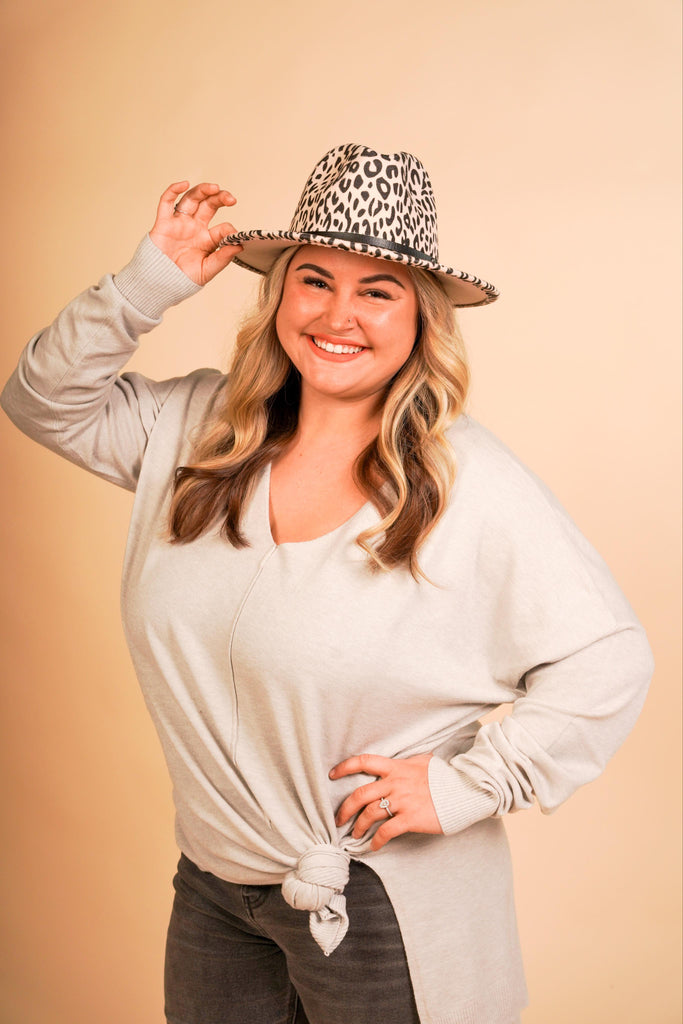 CURVY GIRL - Alison Light Grey Super Soft High Low Sweater