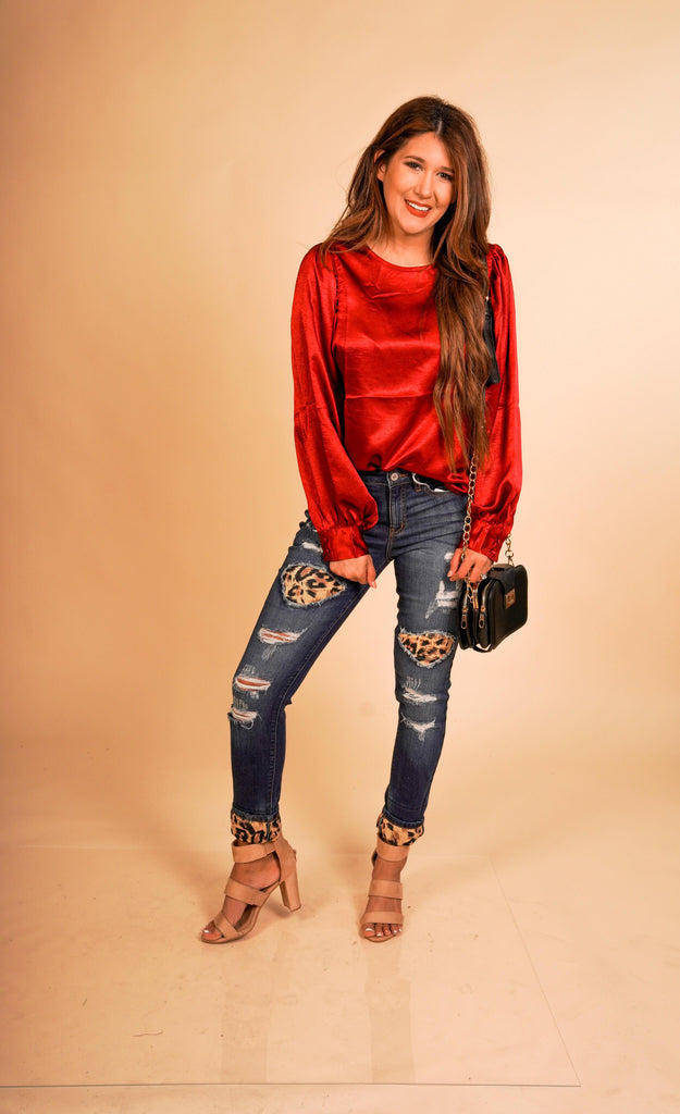 Ella Mid Rise Super Skinny Kancan Jeans With Destroyed Leopard Detail And Leopard Print Cuffed Hem