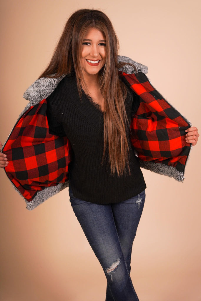 Aspen Grey Fluffy Zip Up Jacket With Buffalo Plaid Cuffed Sleeve And Lining