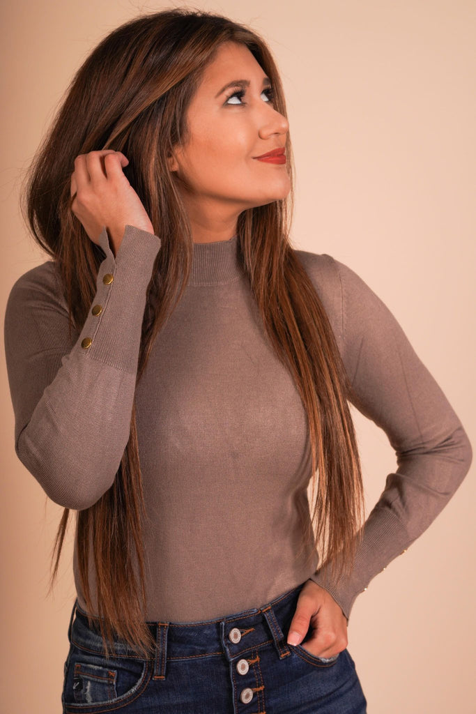 Crimson Mocha Slim Fit Long Sleeve With Button Details And A Mock Neck