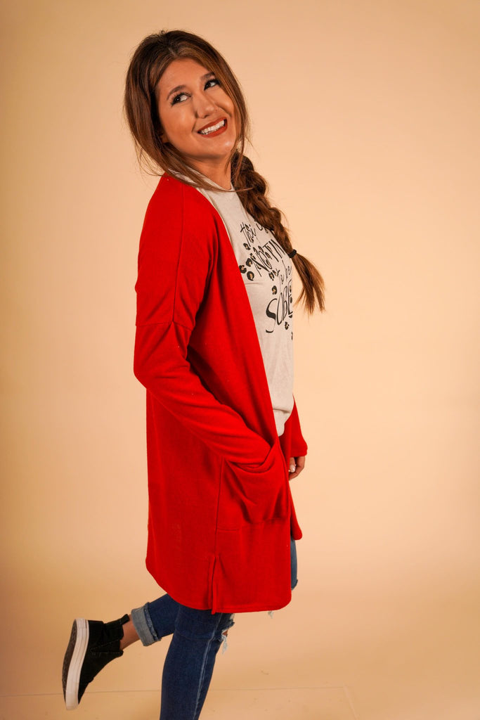 Very Cherry Long Red Cardigan With Pockets