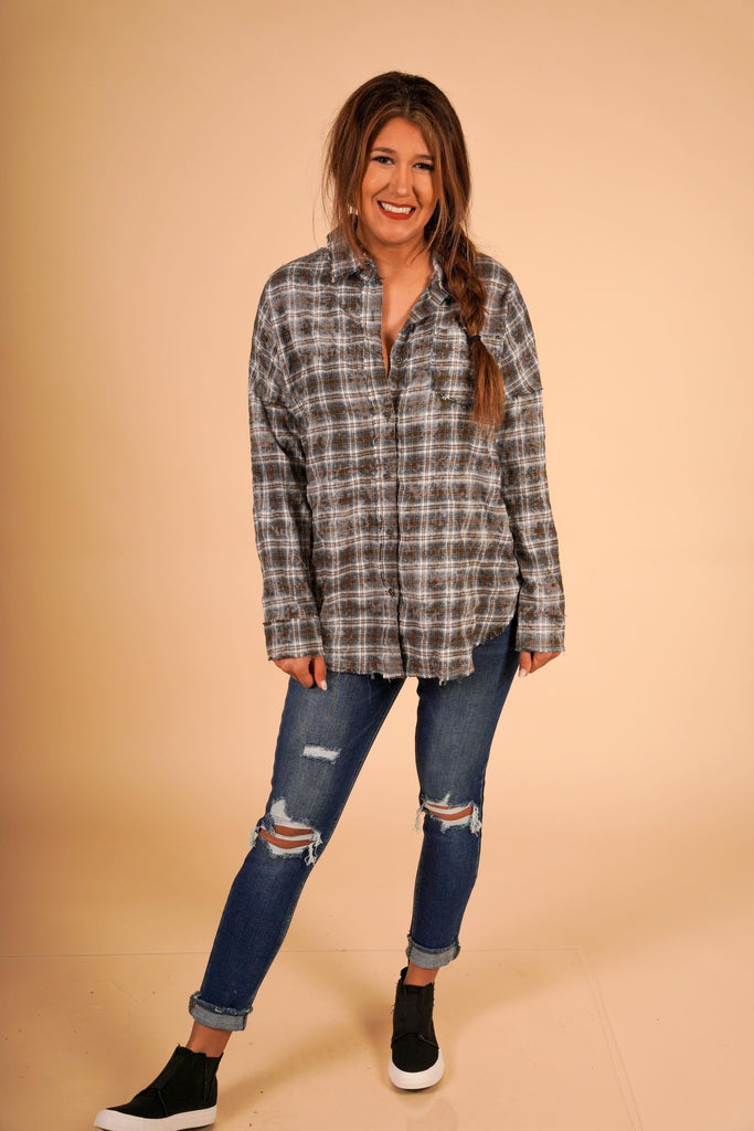 Midori Olive Button Down Loose Fitting Plaid Long Sleeve