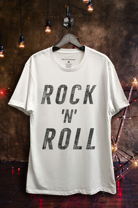 White Boyfriend Fit Rock N Roll Crew Neck T-Shirt