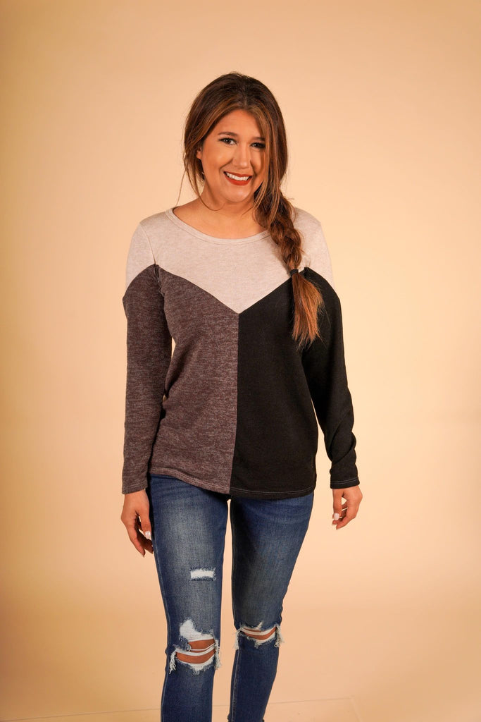 Sweater Knit Chevron Mocha and Black Top