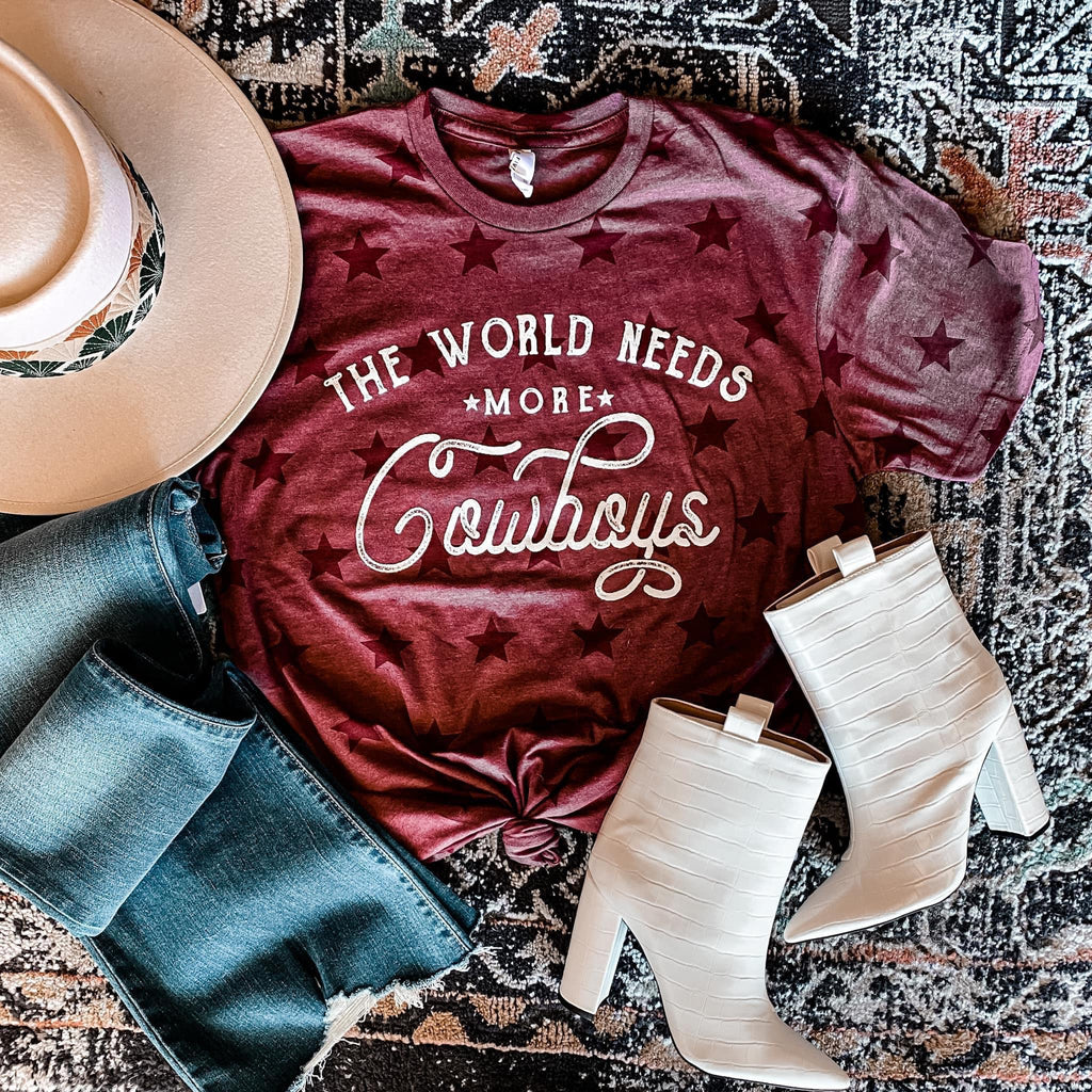 The World Needs More Cowboys Maroon Code Five T-Shirt