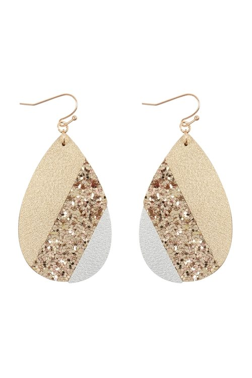 Mosaic Sequin Leather Teardrop Earrings