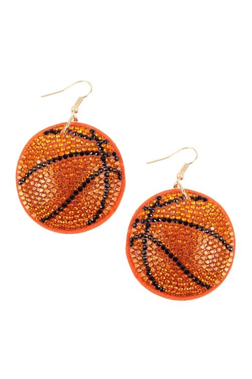 Suede Crystal Sports Earrings