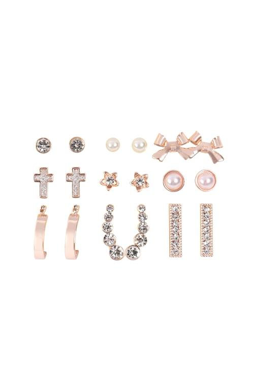 9 Pairs Assorted Dainty Rose Gold Crawler Stud Earrings