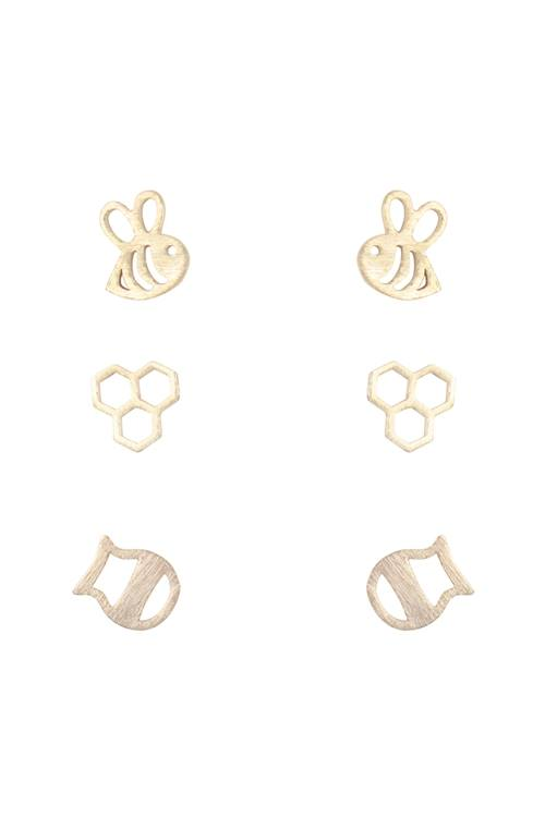 3 Pair Set Bee Earrings