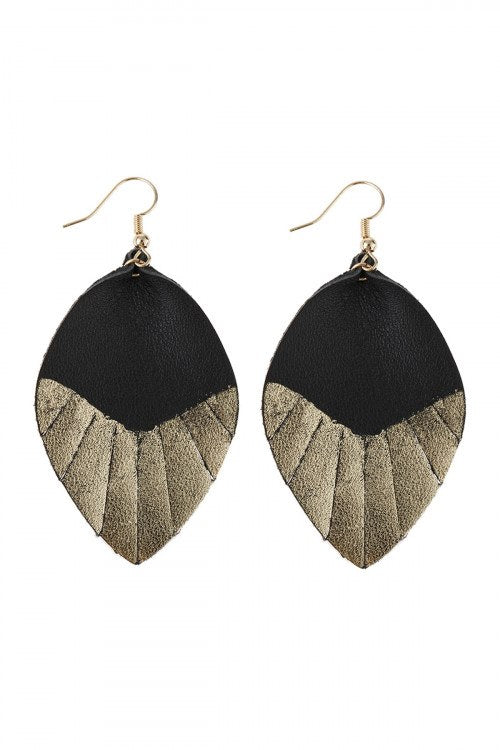 Black & Gold Leaf Leather Tassel Teadrop Earrings