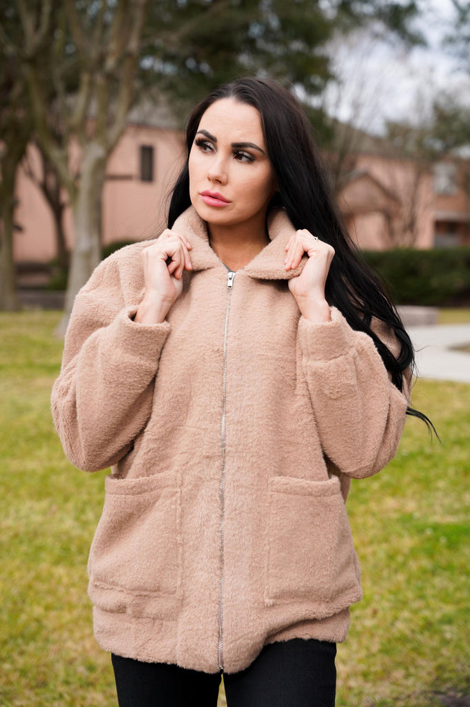 Lonelle Mocha Fuzzy Zip Up Jacket
